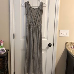 Medium grey and white maxi dress